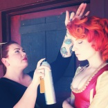 On set with Ashley Birdsell-hair stylist in Los Angeles