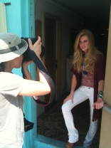 On set in Miami with Elise Donaghue
